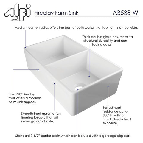 "ALFI brand AB538-W 32"" White Double Bowl Smooth Fireclay Farmhouse Sink"
