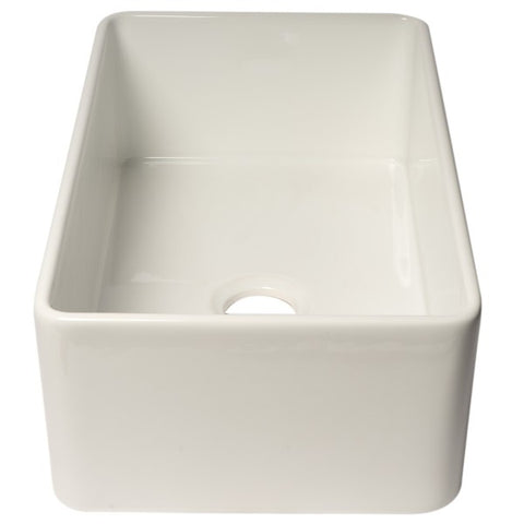 "ALFI brand ABF3018 30"" White Single Bowl Thin Wall Fireclay Farmhouse Sink - Annie & Oak"
