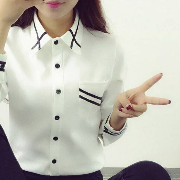 Blusas Ladies OL Elegant Women 2016 Autumn  Long Sleeve Sequin Chiffon Ladies Office Shirt White Blue Tops Formal - Exclusive & Fast