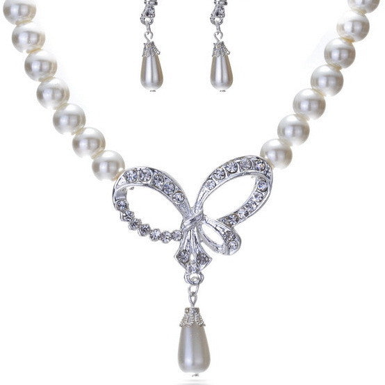 Exquisite Hollow Diamond Bow Pearl Pendant Necklace- Exclusive & Fast Sponsored