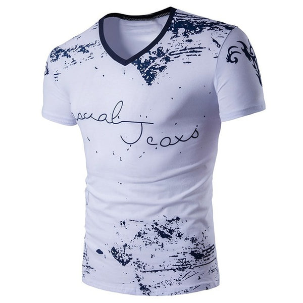 Print V neck Short Sleeve Shirts For Men- Exclusive & Fast Sponsored
