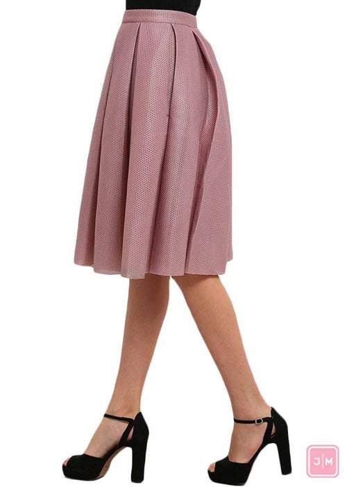 Pink Pleated High waist Skirt