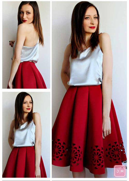 Laser Cut Out High waist Skirt