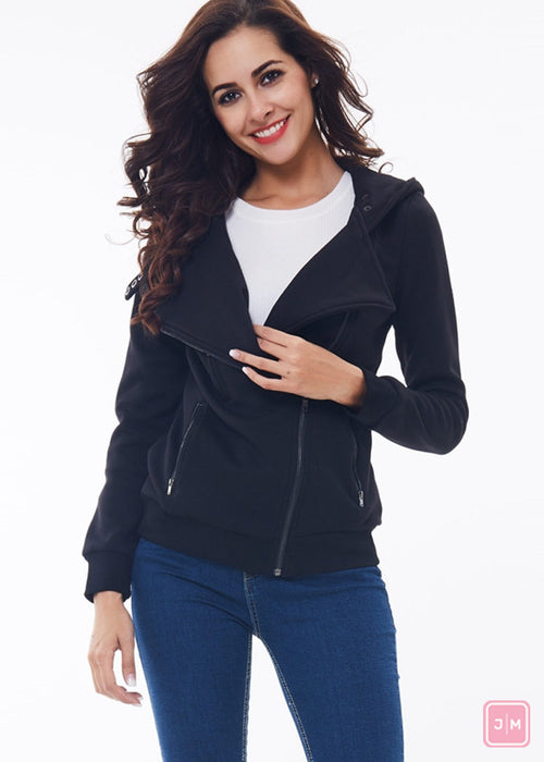 Asymmetric Zipper Hooded Jacket