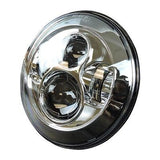 "7"" Chrome LED Projector Daymaker Headlight + Passing Lights With Adaptor Ring"