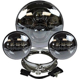 7 Led Projector Daymaker Headlight + 4.5 Passing Lights With Adaptor Ring Set Black