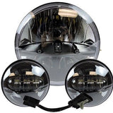 "7"" Led Projector Daymaker Dub Headlight + 4.5"" Passing Lights Set Black"