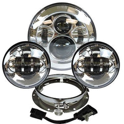 7 Chrome LED Projector Daymaker Headlight + Passing Lights With Adaptor Ring