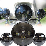 "7"" Led Projector Daymaker Headlight + 4.5"" Passing Lights With Adaptor Ring Set Black"