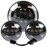"7"" Black LED Projector Daymaker Headlight + Passing Lights For Harley Davidson"