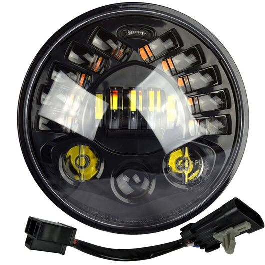 7 LED Integrated Projector Daymaker Headlight Black