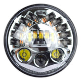 "7"" Chrome LED Projector Daymaker Headlight + Passing Lights For Harley Touring Intergrated"