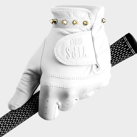 Men's White Gold Spikes Glove