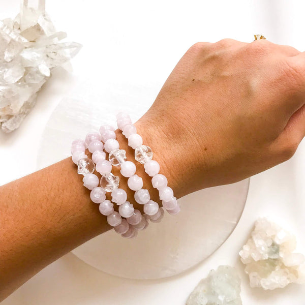 Mini Rose Quartz + Clear Quartz Bracelet