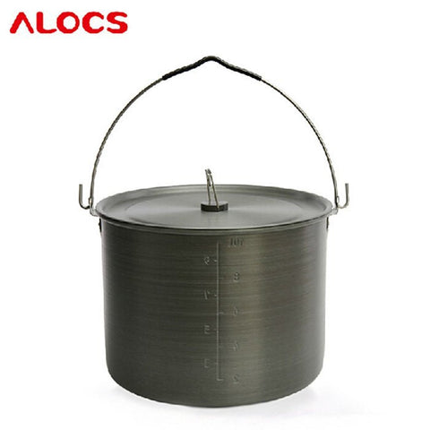 10.5L Stainless Steel Camping Hang Pot with Folding Handle