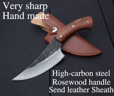 High-carbon steel Hand made fixed hunting knife 24cm 58HRC Rosewood handle survival camping tactical