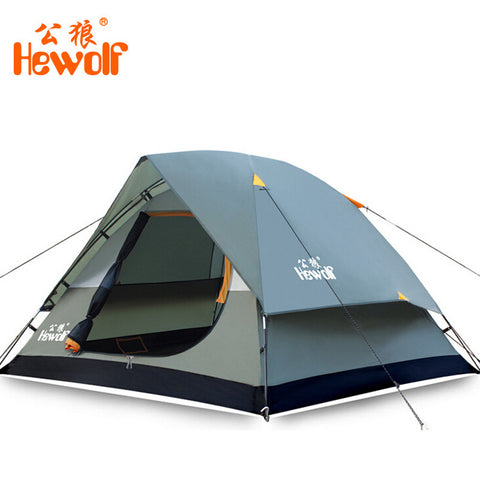 Hewolf Waterproof Double Layer 2 3 person Outdoor Camping Tent