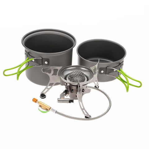BRS Aluminum Camping Cookware Sets with Split Windproof Gas Stove