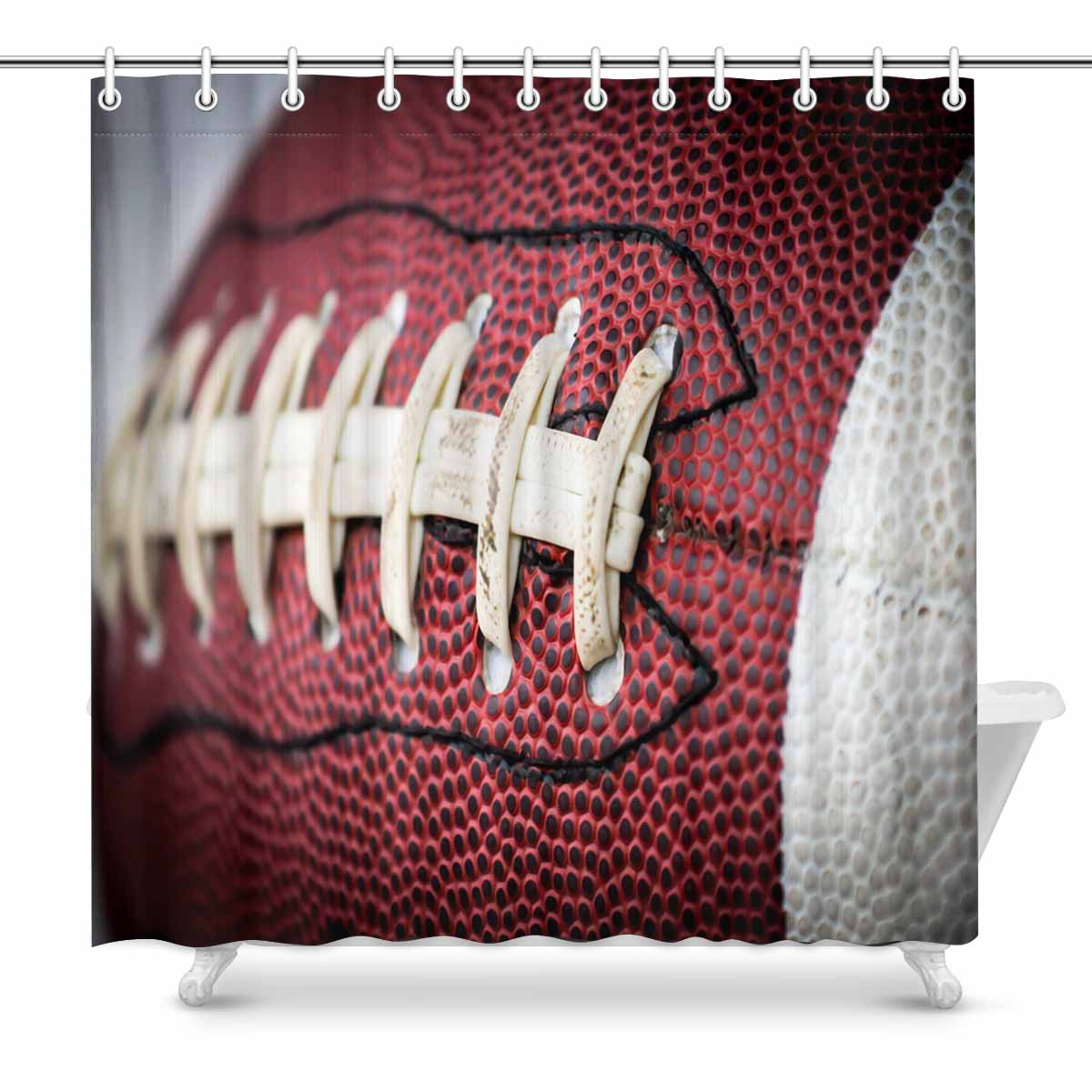Sport Themed Shower Curtains Print With American Football Ball Close Up