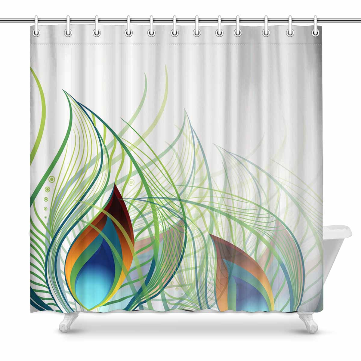 Shower Curtains Print With Abstract Peacock Feather Backgroud Design