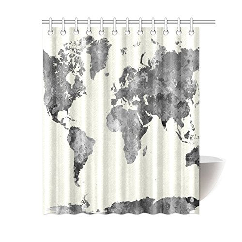 Grey Globe Art Home Bath Decor, World Map Polyester Fabric Shower Curtain  Bathroom Sets