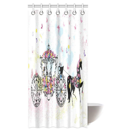Shower Curtain Vintage Floral Carriage Black Horse Colorful Flowers Butterfly Cinderella