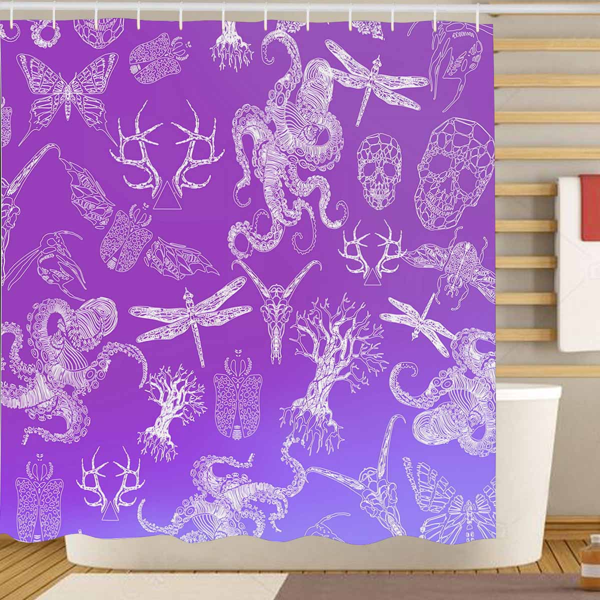 Skull Themed Shower Curtain Octopus Crystall Skull Dragonfly