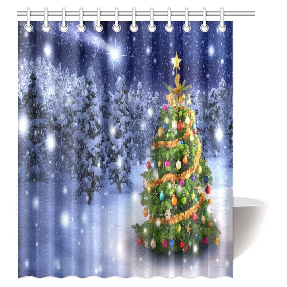 Merry Christmas Themed Shower Curtain Home Decor Colorful Tree Outdoor In A Snowy Night