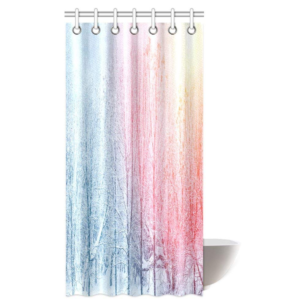 """Wolf Standing In Snow Forest Night Bathroom Fabric Shower Curtain With Hooks 71/"""""""