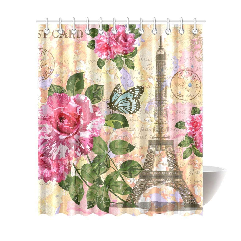 Vintage Paris Eiffel Tower Flowers Butterflies Waterproof Polyester Fabric Shower Curtain Bathroom Sets With Hooks