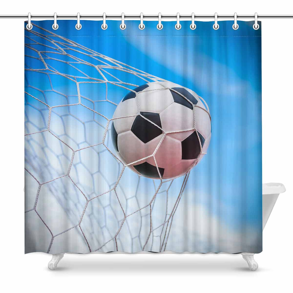 Sport Themed Shower Curtains Print With Soccer Ball In Goal Net