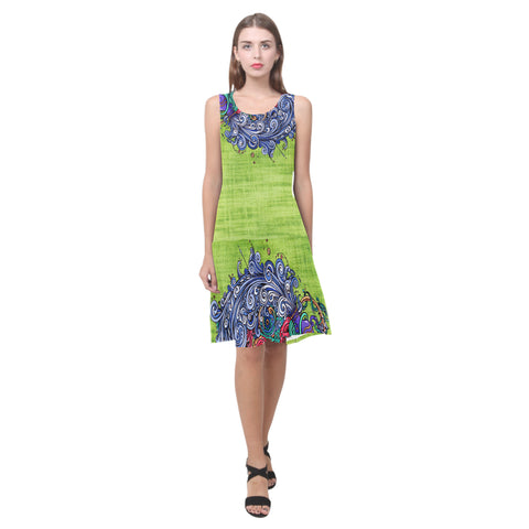 Aquarius Green Sleeveless Splicing Shift Dress