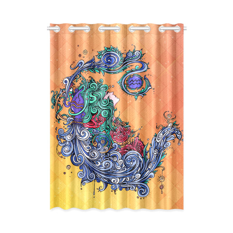 Aquarius Window Curtain Orange(One Piece)