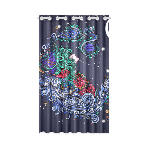 Aquarius Window Curtain Navy(One Piece)