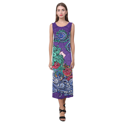 Aquarius Sleeveless Open Fork Long Dress Purple