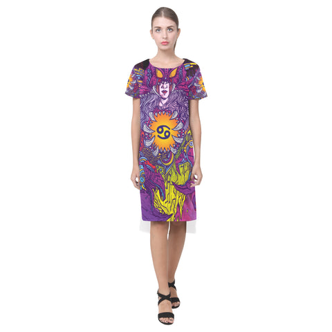 Cancer Sign Short Sleeves Casual Dress Purple Style
