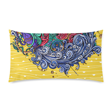 Aquarius Rectangle Pillow Case Yellow(One Side)