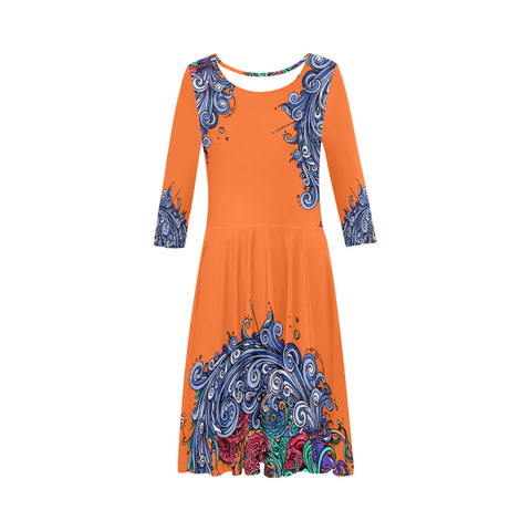 Aquarius Half-Sleeve Skater Dress Orange