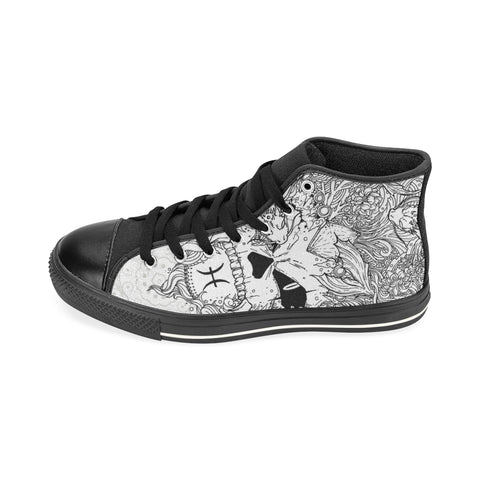 Pisces Sign Aquila High Top Men Canvas Shoes Style 1 (Large Size)