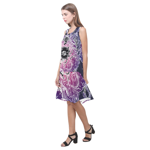 Cancer Sign Sleeveless Splicing Shift Dress Purple Style