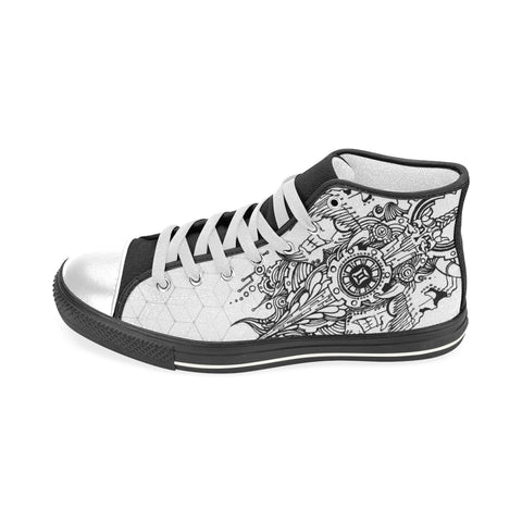 Gemini Sign Aquila High Top Men Canvas Shoes Back White Style