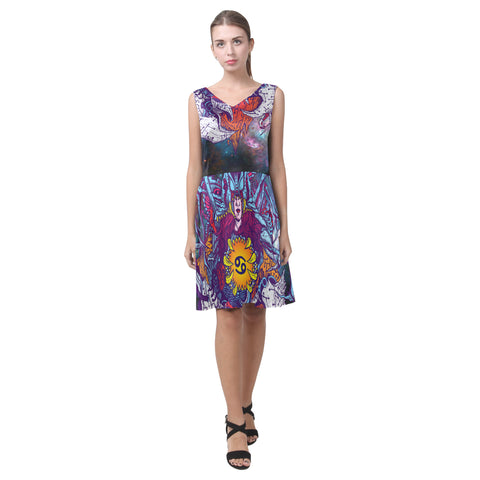 Cancer Sign Sleeveless Pleated Dress Multicolor Style