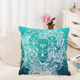Aries Sign Throw Pillow Cover Green Color(Twin Sides)