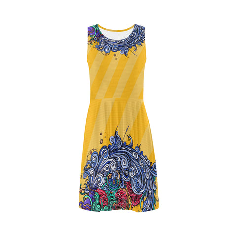 Aquarius Sleeveless Skater Dress Yellow