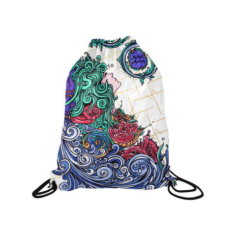 Aquarius Drawstring Bags White (Medium)