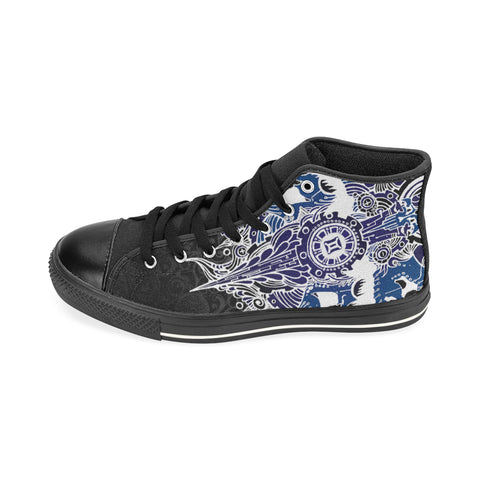 Gemini Sign Aquila High Top Men Canvas Shoes Blue Style(Large Size)