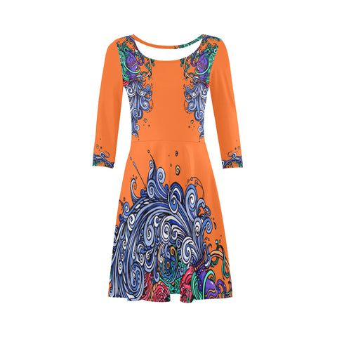 Aquarius Sleeve Sundress Orange
