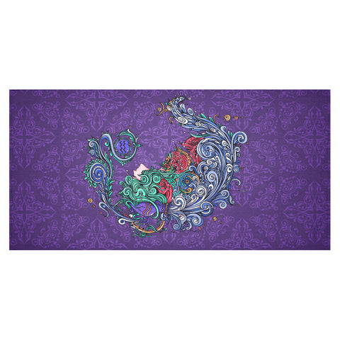 Aquarius Linen Tablecloth Purple