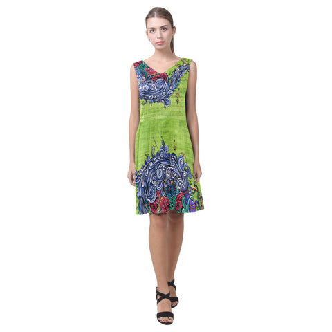 Aquarius Green Sleeveless Pleated Dress