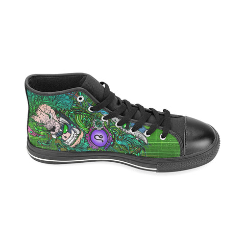 Leo Sign Aquila High Top Men Canvas Shoes Green Style (Large Size)